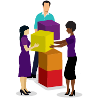 Small group of people working together stacking boxes